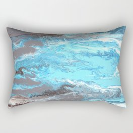 Fluid Acrylic Blue Abstract Painting - When it Rains Rectangular Pillow
