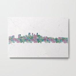 Minneapolis Minnesota Skyline Floral Pattern Metal Print