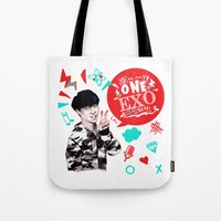 exo Tote Bags featuring EXO WE ARE ONE! Lay Version by Haneul Home