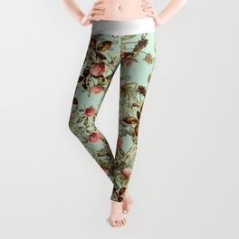 Vintage shabby green pink coral floral pattern Leggings