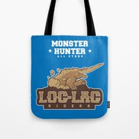 monster hunter Tote Bags featuring Monster Hunter All Stars - Loc-Lac Riders by Bleached ink