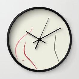 Minimal line drawing nude Wall Clock