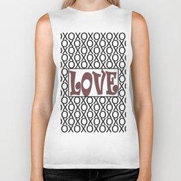 Pantone Red Pear LOVE XOs (Hugs and Kisses) Typography Art Biker Tank
