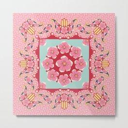 Paisley, Hamsa and blossom Metal Print