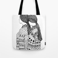 twins Tote Bags featuring Twins by La Thai