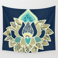lotus Wall Tapestries featuring Lotus by Allie