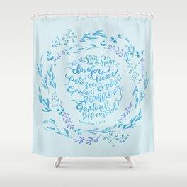 The Fruit of the Spirit - Galatians 5:22~23 / Blue Shower Curtain