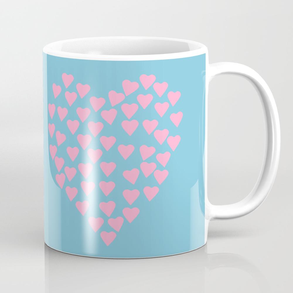 Hearts Heart Pink On Blue Mug by Projectm MUG943141