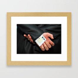 poker ace card hidden in the sleeve for cheating purpose Framed Art Print
