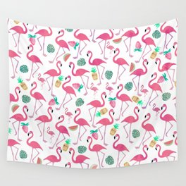 Tropical pink watercolor flamingo sweet summer fruit pattern Wall Tapestry