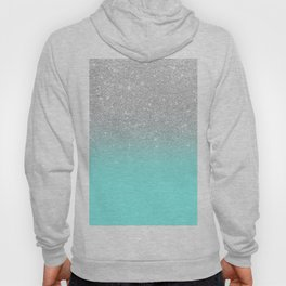 Modern girly faux silver glitter ombre teal ocean color bock Hoody