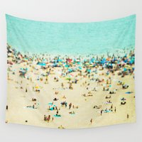 landscape Wall Tapestries featuring Coney Island Beach by Mina Teslaru
