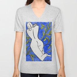 Blue Nude with Foliage Unisex V-Neck