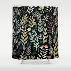 Dark Botanic Shower Curtain