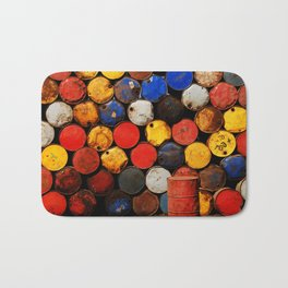 Gasoline Rusty Tin Cans Pattern Bath Mat