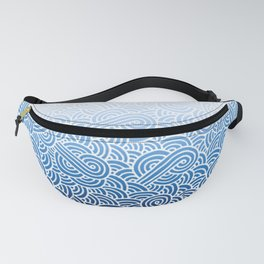 Faded blue and white swirls doodles Fanny Pack