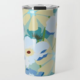 Blue Cream Floral Travel Mug