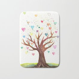 Heart Tree Watercolor Illustration Bath Mat