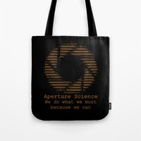 aperture Tote Bags featuring Aperture Science by IS0metric