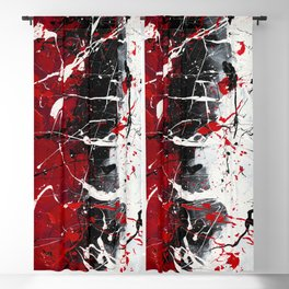 Groove In The Fire - Black and red abstract splash painting by Rasko Blackout Curtain