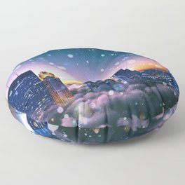 Minneapolis Minnesota Surreal Skyline in the Clouds Floor Pillow