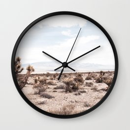 Cactus Range // Cowboy Mountains and Dusty Blue Sky Desert Landscape Wall Clock
