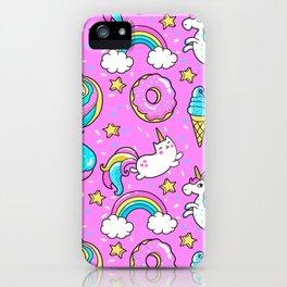 Kawaii Sweet Pink Glittery unicorn pattern iPhone Case
