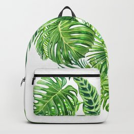 heart made of watercolor tropical leaves Backpack