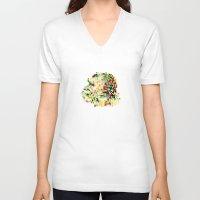 8bit V-neck T-shirts featuring Ape 8bit by jnk2007