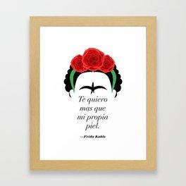 Frida Kahlo: Te quiero mas que mi propia piel. Framed Art Print
