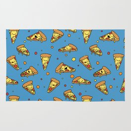 Cute Happy Smiling Pizza Pattern on blue background Rug