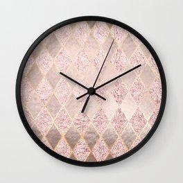 Blush Rose Gold Glitter Argyle Wall Clock