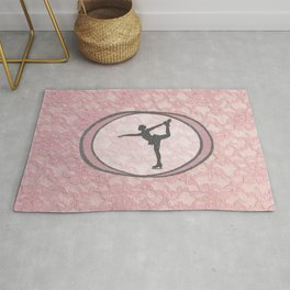 Figure Skating Lace Collection in Delicate Pink and Grey Design Rug