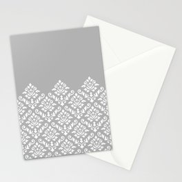 Damask Baroque Part Pattern White on Grey Stationery Cards