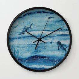 Sharks in deep blue Wall Clock