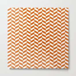 Mango Orange Herringbone Pattern Metal Print