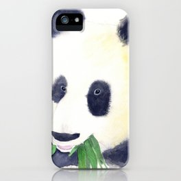 Giant Panda eating Bamboo Watercolor Painting iPhone Case