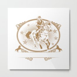 Illustration of cowboys riding horse Metal Print