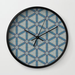 Blue Bus Parking Lot Kaleidoscope Wall Clock