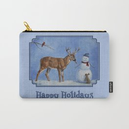 Christmas Deer Eating Snowman Carrot Nose Carry-All Pouch