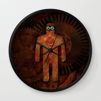 super hero Wall Clocks featuring Rust Man - Super Hero by Paul Stickland for StrangeStore