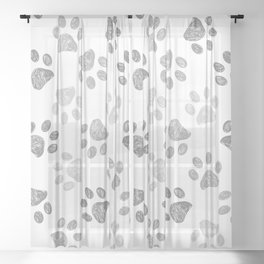 Black and grey paw print pattern Sheer Curtain