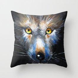 Wolf Close-Up Throw Pillow