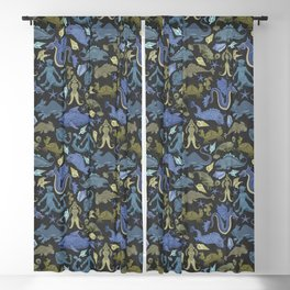 Deep Sea Cryptids in Olive and Blue Blackout Curtain