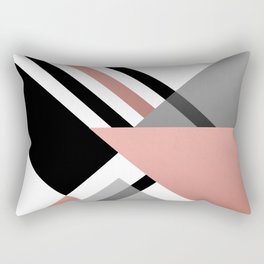 Sophisticated Ambiance - Silver & Rose Gold Rectangular Pillow