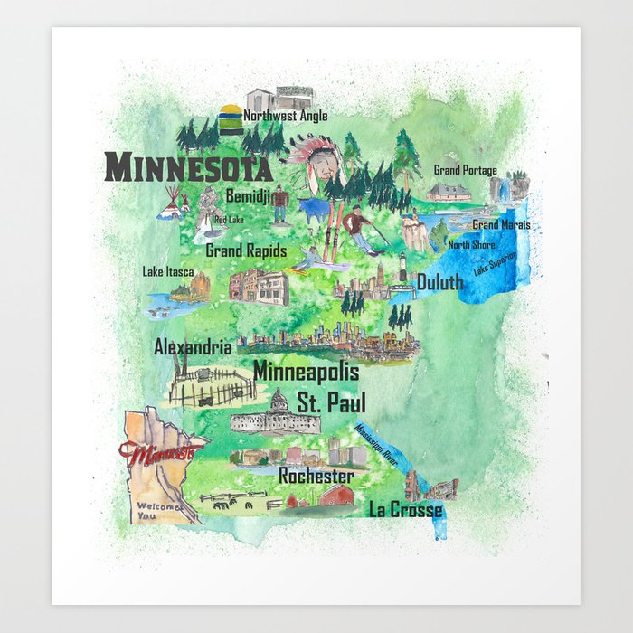 picture regarding Printable Map of Minnesota referred to as Minnesota United states Region Illustrated Generate Poster Most loved Vacationer Map Artwork Print as a result of artshop77