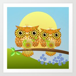 Spring owls on a sunny day Art Print