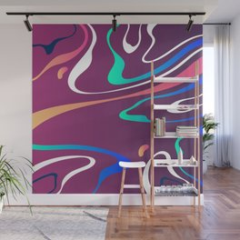 Swirls On Purple Abstract Design Wall Mural