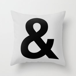 Ampersand black and white monochrome Helvetica typography poster design home wall bedroom decor Throw Pillow