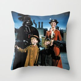 Darth Vader in Mary Poppins Throw Pillow